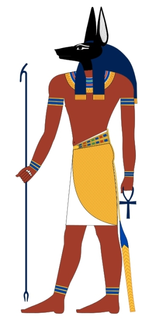 """""""Anubis standing"""" by Jeff Dahl - Own work. Licensed under GFDL via Commons - https://commons.wikimedia.org/wiki/File:Anubis_standing.svg#/media/File:Anubis_standing.svg"""
